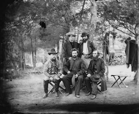 Father Corby, (first row, right) joined Father James Dillon, CSC, (center) in time for the fighting in 1862, photo courtesy of ND Archives