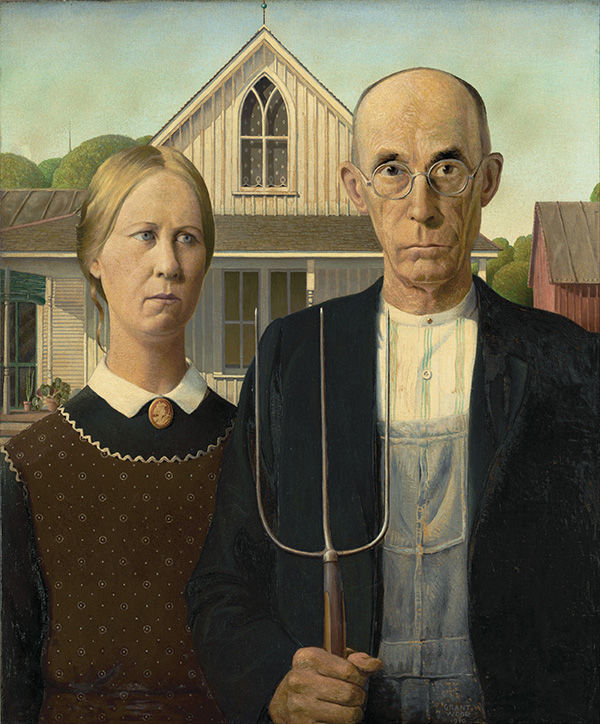 Grant Wood, American Gothic, 1930, oil on beaver board, 78 x 65