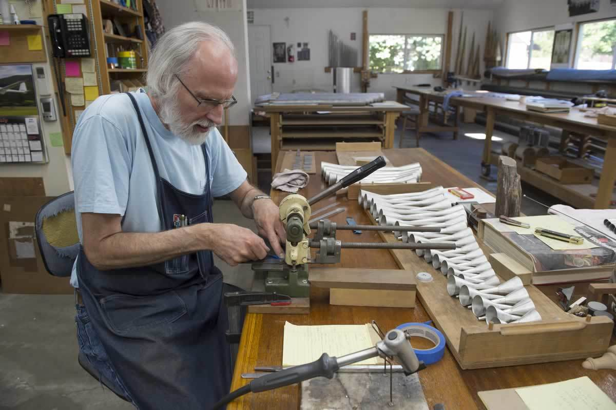 """We both can pretty much do one end of the pipe shop to the other,"" Bahnsen says of his teamwork with Erik McLeod. Even with a jump start, the pipe making for the basilica organ has taken nearly three years."
