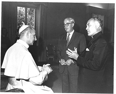 Father Hesburgh and board chair Ed Stephan meet with Pope Paul VI.