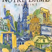 "Nanette Penz-Reuter '87 used only blue, gold and ""shamrock green"" to color the entire spring cover. Except for Touchdown Jesus. ""He remained in pure white."""