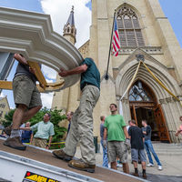 The rain in the forecast for Sunday, July 31, stayed far away, a welcome development which those who gathered to move Notre Dame's new Murdy Family Organ regarded as a vote of divine confidence in its long-awaited arrival.