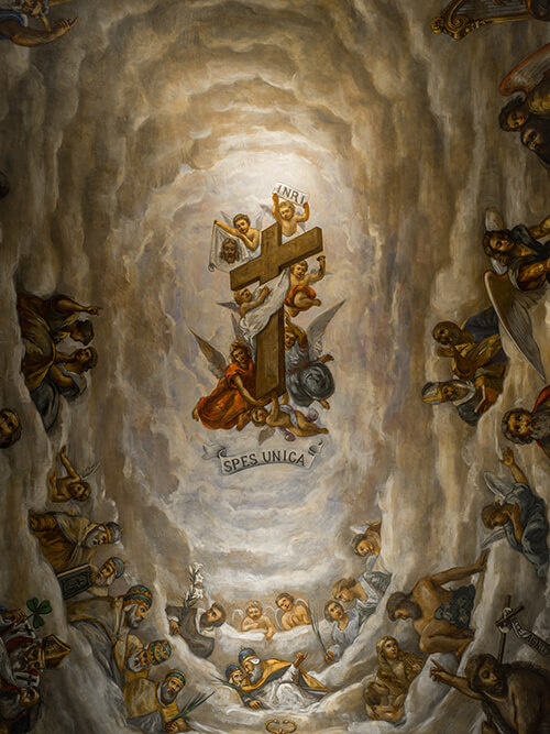 """We are surrounded by so great a cloud of witnesses""; Ceiling of the Lady Chapel and other photos by Matt Cashore '94"