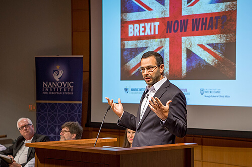 Sebastian Rosato, associate professor of political science, at the Brexit panel, photo by Matt Cashore '94.