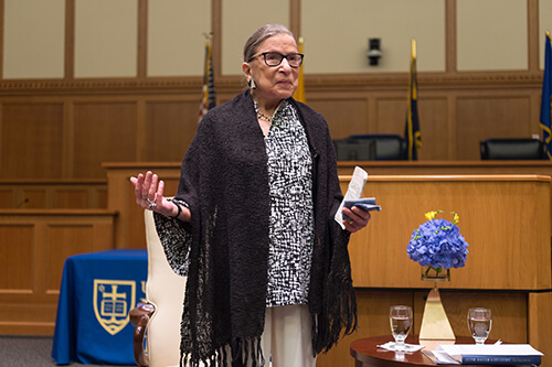 Justice Ginsburg, speaking at the Law School on Sept. 13, photo by Matt Cashore '94