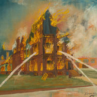 "Jack's 1953 oil painting of the Hanford fire was as much a labor of grief and love as it was an attempt to document the demise of a building he knew inside and out, and which had already come to symbolize for the young artist and preservationist all that had been lost along Prairie Avenue, ""the sunny street that held the sifted few."""