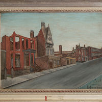 Jack Simmerling. Ozro Clapp house [foreground], 2120 S. Prairie Avenue. Oil on canvas, 1950. The Clapp house demolition that year was Jack's first as a hired hand on a wrecking crew as well as his first opportunity to salvage furniture and architectural fragments that speak of the neighborhood's opulence in its heyday.