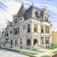 Jack painted the William W. Kimball house as a Notre Dame class project during his junior or senior year in 1956, his lone foray into the medium of egg tempera. The piano and organ manufacturer's 29-room, intricately ornamented stone mansion, designed in the style of a Brittany chateau and built opposite the Glessner house on Prairie Avenue, survives and is home today to the U.S. Soccer Federation.