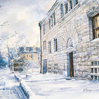 Undated Jack Simmerling watercolor of the Glessner House in winter. In 2007, the American Institute of Architects named Glessner No. 83 on its list of America's Favorite Architecture, just ahead of the now-demolished Yankee Stadium.