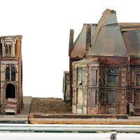 Jack created pasteboard models of the neighboring South Calumet Avenue homes of Charles Starkweather (left) and Philander Hanford in 1953 from his own documentation.