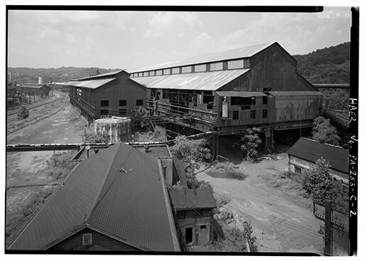 Pittsburgh Steel Company, Monessen Works, 1995, Photo by Jet Lowe, Wikimedia Commons