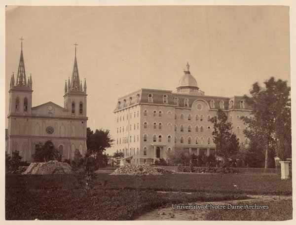 First Sacred Heart Church and Second Main Building exterior, c1860s.
