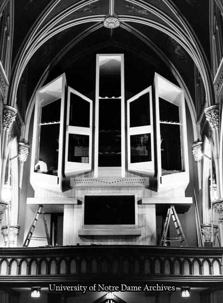 Basilica of the Sacred Heart Interior - Installation of Holtkamp Organ, 1978.