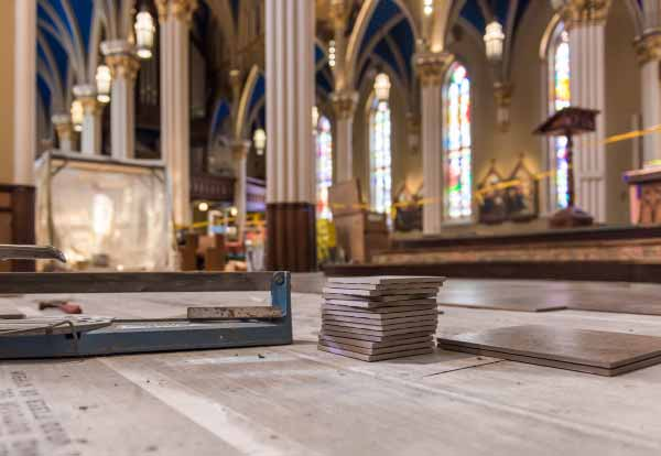 Work in progress on replacing the floor in the Basilica of the Sacred Heart.