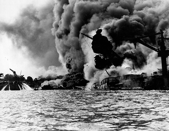 The battleship USS Arizona burning at Pearl Harbor, December 7, 1941