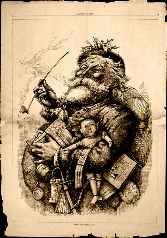 Thomas Nast forever imprinted Merry Old Santa Claus in our collective imagination with this illustration for Harper's in 1881.