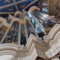 Even as a church becomes one with the instrument, an inseparable part of the acoustic experience that we feel in our muscles and bones as much as hear, the pipe organ visually reinforces the verticality of the church, lifting eyes and spirits heavenward.