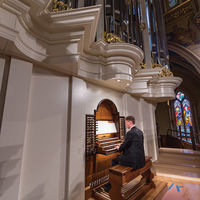 Michael Plagerman, a candidate for the Master of Sacred Music degree in organ performance, practices on the completed instrument, December 2016.