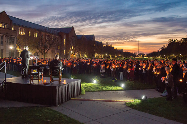 """Either we are all Notre Dame, or none of us are,"" Father Jenkins said at a Nov. 14 prayer service to unite the campus community. Photo: Matt Cashore '94"