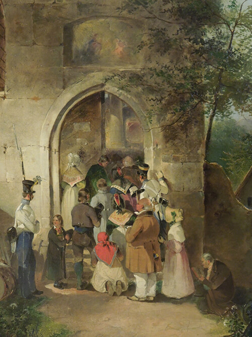Johann Friedrich Treml, In Front of the Church Gate, 1838