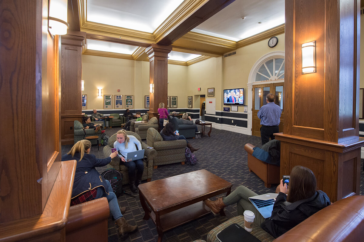 The scene in LaFortune's main lounge shortly after noon as Donald Trump was sworn into office as the 45th president of the United States, photo by Matt Cashore '94