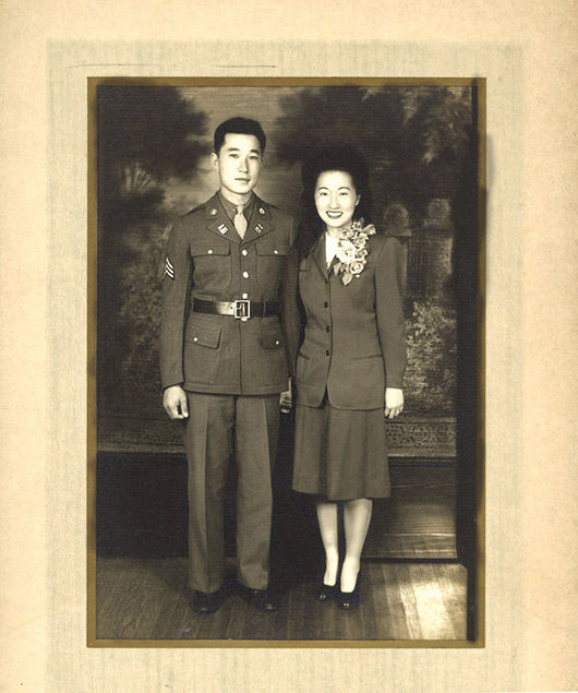 Jimmy Sakimoto and Amy Mitani on their wedding day in 1942.