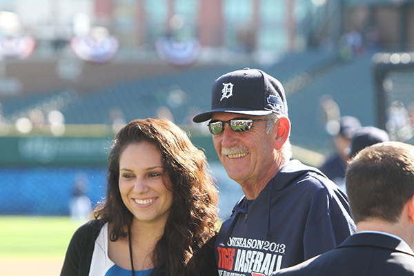 Aileen Villarreal '10 and Jim Leyland, who retired from managing the Tigers in 2013, photo courtesy of Aileen Villarreal