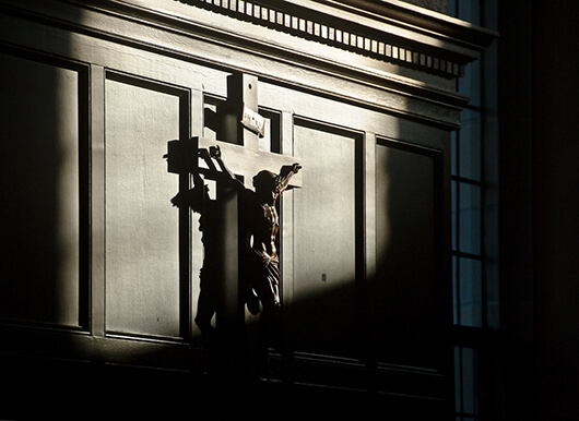 Crucifix in the Oak Room, photo by Matt Cashore