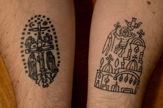 The author's Coptic tattoos depict (left) the crucifixion, with Mary and Mary Magdalene at Jesus' feet and (right) an icon of the Church of the Holy Sepulchre, photo by Ben Gray