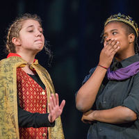 "Look, Rome doesn't want a fight, Caius Lucius (Ellie Graff) tells King Cymbeline (Cameron Pierce), but England should be ""paying tribute,"" and everyone else has been paying, so . . ."