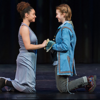 Parting is such sweet sorrow: Imogen (Precious Parker), left, and Posthumus (Ophelia Emmons) bid a heartfelt farewell. Posthumus has been banished to Rome for marrying Imogen. Her father, King Cymbeline, considers him unworthy of the princess.