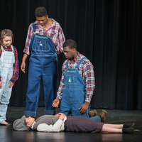 Only mostly dead: Belarius (Lizzie Graff), Arviragus (Josh Crudup) and Guiderius (Andrew McDonald) mourn their newfound friend Fideli (Precious Parker), who is really Imogen in disguise, and who will be fine once the potion wears off.