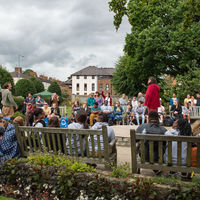 Tourists, including members of the Robinson Shakespeare Company, marveled at the mastery Shakespeare Birthplace actors Chris Dunford (arm raised, at left) and James Tanton (in red) displayed.