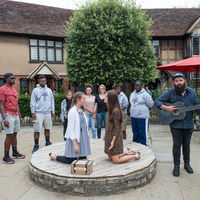 The Robinson Shakespeare Company was invited to perform an impromptu scene from their upcoming production of Cymbeline at the Shakespeare Birthplace.