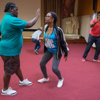 Candace LeBron-Williams (left) and Kennedi Bridges perform an exercise during a directing workshop at the Shakespeare Birthplace Trust in Stratford-upon-Avon, England.