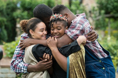 King Cymbeline (Cameron Pierce) reunites with his daughter Imogen (Precious Parker) and long lost sons Arviragus (Josh Crudup) and Guiderius (Andrew McDonald).