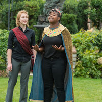 Ophelia Emmons as Posthumus and Cameron Pierce as King Cymbeline rehearse a scene from Cymbeline.