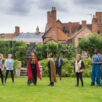 The Robinson Shakespeare Company rehearses Cymbeline in the Great Garden at Shakespeare's New Place in Stratford-upon-Avon, England.