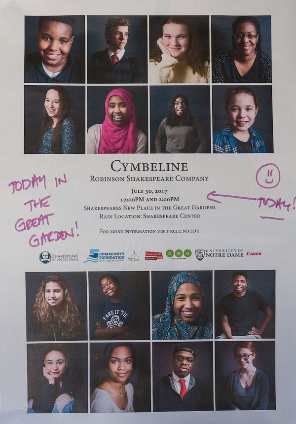 A poster for the Robinson Shakespeare Company's performance of Cymbeline in Stratford-upon-Avon.