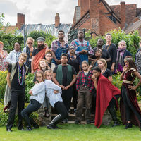 Robinson Shakespeare Company members pose in character after performing Cymbeline at Shakespeare's New Place in Stratford-upon-Avon, England.
