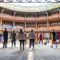 On the stage at Shakespeare's Globe in London, the Robinson Shakespeare Company takes in a view that would have been familiar to actors during Shakespeare's time.