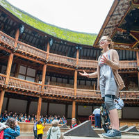 Ophelia Emmons of the Robinson Shakespeare Company takes the stage at the Globe Theatre in London.