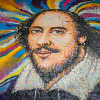A mural of William Shakespeare near the Globe Theatre in London by graffiti artist James Cochran, known as Jimmy C.