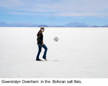 Gwendolyn Oxenham in the Bolivian Salt Flats