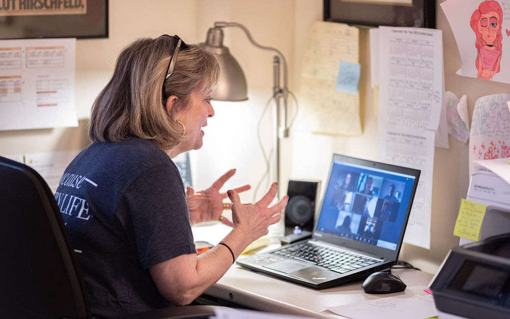 Laura Hollis talks virtually with undergraduate students
