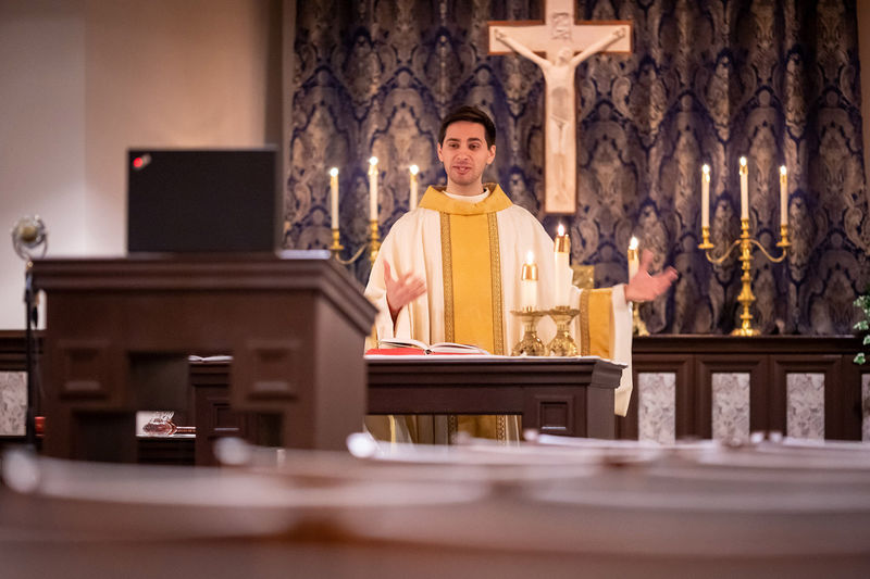 Rev. Dennis Strach celebrates Mass