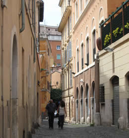 A cobblestone street in the Trastevere area of Rome