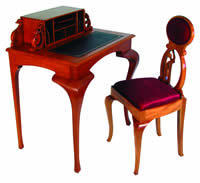 Jennifer Heller's mahogany writing desk and side chair
