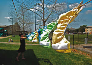 Donna Benvenuti air-dries diapers outside University Village