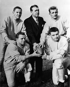 Frank Leahy with, clockwise from upper left, Bob Williams, Jim Martin, Leon Hart and Emil Sitko; photo from University of Notre Dame Archives